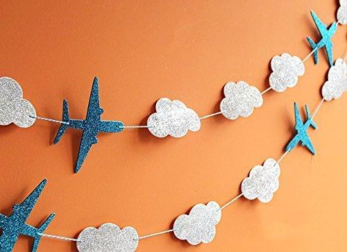 SUNBEAUTY 3 Meter Flugzeug Wolke Blumen Krone String Girlande Dekoration Kinderzimmer Party Feier (Flugzeug & Wolke) (Flugzeug-party Dekorationen)