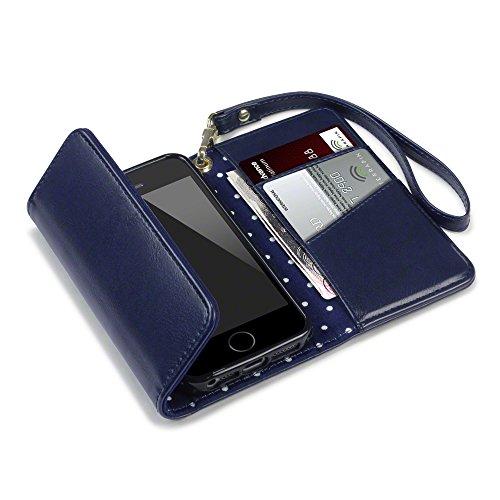 Coque Cuir iPhone SE, Terrapin Étui Housse Portefeuille avec Polka Dot Intérieur pour iPhone SE Case - Bleu Marine Bleu Marine avec Polka Dot Intérieur