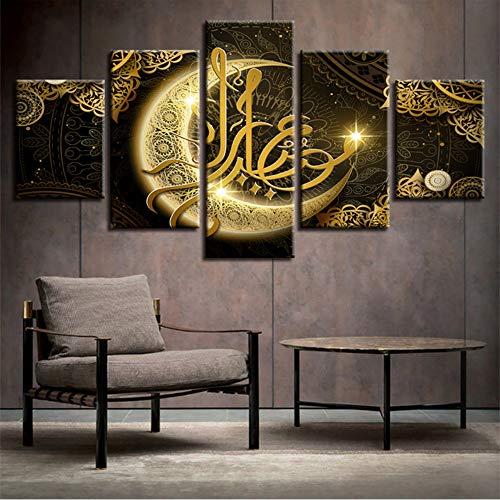 sshssh (Kein Rahmen) Hd Drucke Poster Wohnzimmer Dekor 5 Stücke Islam Allah Der Koran Gold Mond Malerei Muslim Leinwand Bilder Wandkunst