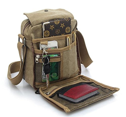 VAIIGO Männer Retro Leinwand-Cross Body Handtasche Umhängetasche Messenger Schultaschen Canvas Retro Tasche für Reisetasche Sport Reise taschen Militär Lässige Reisetasche Strand tasche Braun