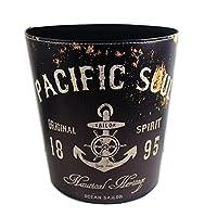 KiaoTime Vintage Decorative Trash Can Garbage Wastebasket Bin Pacific Soul Anchor Design Trashcan, Black Color