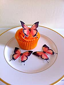 12 orange und schwarz Schmetterling-Kuchen-Deckel-Dekorationen