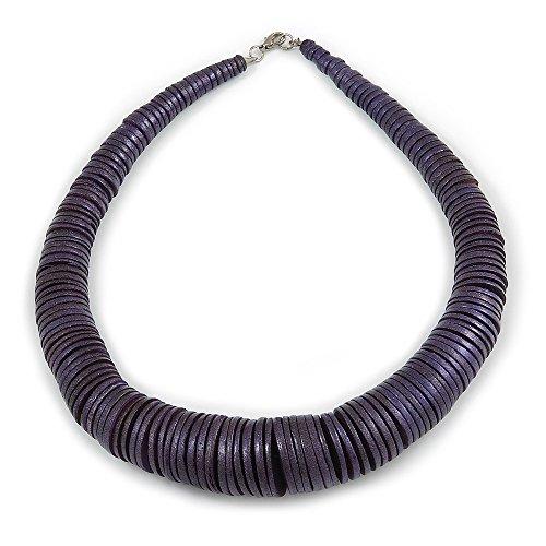 Unbekannt Silberton Geschoben Glitzernde Lila Münze Form Holz Perle Halskette-56cm L (Lila Münzen)