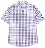 Izod Breeze Poplin Plaid SS Shirt Camicia Casual, Rosa (Orchid 535), XL Uomo