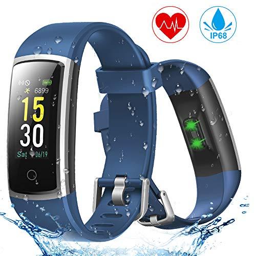 YONMIG Fitness Armband, Wasserdicht IP68 Fitness Tracker mit Pulsmesser, Blutdruckmessung, 0,96 Zoll Farbbildschirm Aktivitätstracker Smartwatch, Schrittzähler Smart Watch Uhr Herren Damen Kinder