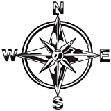 #10: Indiashopers Tribal Compass Rose Nautical Star Windows, Sides, Hood, Bumper Car Sticker (Black)