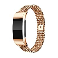 Fitbit Charge 2 Strap Metal,HARRYSTORE Adjustable Stainless Steel Bracelet Strap Replacement Band for Fitbit Charge 2 Watch Fitness Tracker (Rose Gold)