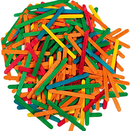 Creation Station CS3706 100 Lollipop Sticks, 115mm x 11mm, Wooden, Assorted Colours