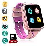 Telefono Reloj Inteligente La Musica Niños - MP3 Player Smartwatch con Localizador LBS Chat de Voz Despertador Camara Linterna Podómetro per Niño y Niña de 4-15 Años (G613-Pink)