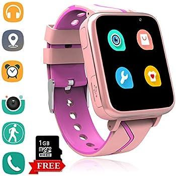 Telefono Reloj Inteligente La Musica Niños - MP3 Player Smartwatch con Localizador LBS Chat de Voz Despertador Camara Linterna Podómetro per Niño y Niña de ...
