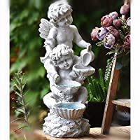 zenggp Solar Powered Fairy Angel Cherub Garden Resin Garden Ornament Outdoor Cherub Figurine Statue