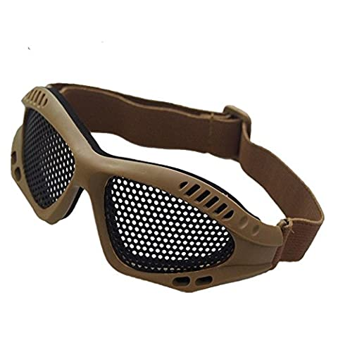Protector Military Equipment Equipped With Protective Glasses 0 Degrees Glasses Metal Mesh Impact Glasses , sand colored tan round net