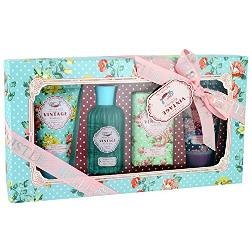 Gloss! Coffret de Bain Vintage Rose, Vanille, Pivoine et Violette 4 Pièces, Coffret Cadeau-Coffret de bain