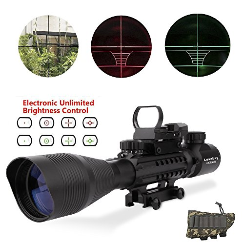 Lovebay C4-12x50 EG AR15 Taktische Gewehr zielfernrohre, luftgewehr zielfernrohr Dual Beleuchtet und Holographic 4 Reticles Red & Green Dot Sight Optik Visier scopes für die Jagd (Schienen Ar15)