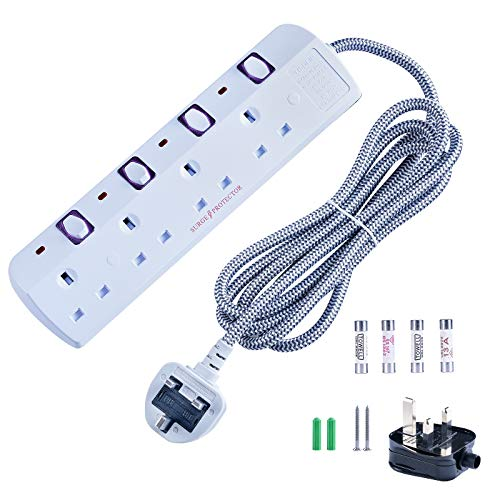 4 Gang White Surge Protected Extension Lead Individual Switch With 2m Fiber Cord Buy Online In Cayman Islands Missing Category Value Products In Cayman Islands See Prices Reviews And