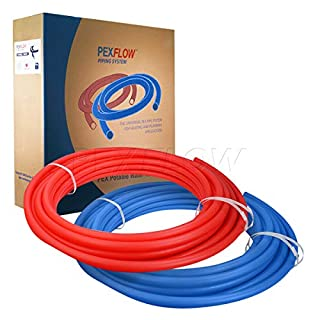 PEXFLOW PEX Potable Water Tubing Combo - PXKT-RB10012 1/2 Inch X 100 Feet Tube Coil for Non-Barrier PEX-B Residential & Commercial Hot & Cold Water Plumbing Application (1 Red + 1 Blue)