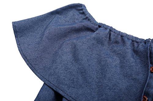 Kate Kasin Vintage Rockabilly Kleid Damen Etui Kleid Schulterfreie Kleider KK501 KK501-1(Dunkelblau)