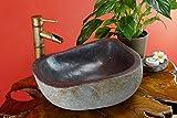 Kinaree Naturstein Waschbecken, handgefertigtes Flußstein Aufsatz Waschbecken (50cm)