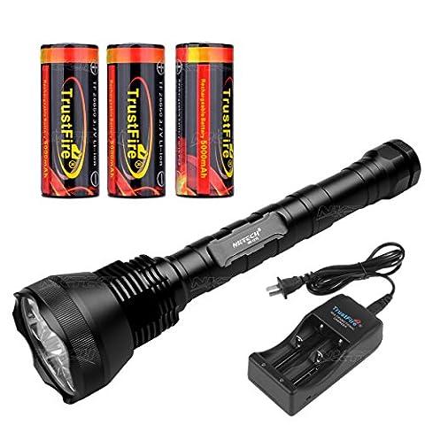 Nktech extérieur ultra lumineux Nk-12t612x T6LED 13800lumens lampe torche avec tube Extended et 3x TrustFire 266505000mAh batterie avec PCB protégé Planche + Tr-006double Slot chargeur