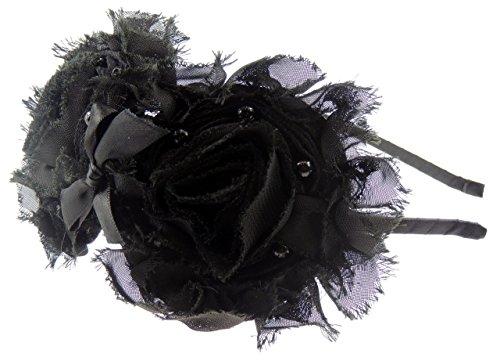 Double effet déchiré pour femme en mousseline de soie fleur fausse perle crème-Bandeau en Ivoire ou Noir - Noir - Taille unique