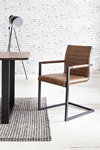 SalesFever 2er Set Stilvoller Armlehnstuhl Alessia in Hellbraun, Stuhl in Elegantem Design,...