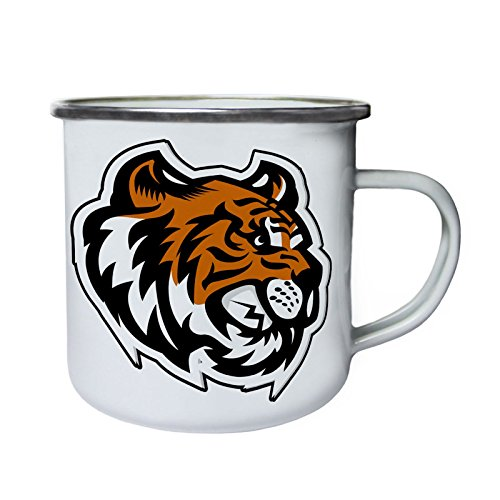 (Tiger Kopf Maskottchen-Logo Retro, Zinn, Emaille 10oz/280ml Becher Tasse u621e)