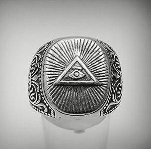 Bague en argent massif 925 Chevalier Illuminati R001212