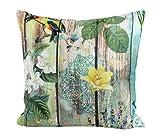 Traumkissen Dekokissen Kissenhülle Zierkissen FRÜHLING - 45x45 cm - Landhaus Chic grün gelb türkis Holzbretter, Vögel, Blumen