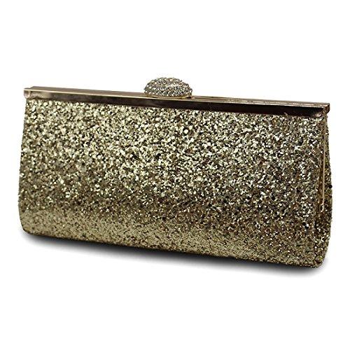 YYW Sparkly Clutch Bag, Poschette giorno donna Gold
