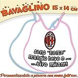 Bavaglino Bavetta Bambino/a personalizzato con nome foto Collezione Calcio Milan