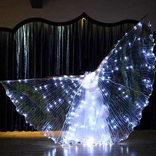 Dance Kostüm Aerobic - LED-Licht 360 Grad Big Wings Pixie Cosplay Zubehör Cape Erwachsene Bauchtanz Schmetterling Fee Flügel Glow Light,White
