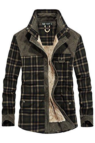 Mr.stream camicia da uomo in stile casual da boscaiolo plaid flanella a quadri camicia imbottita da lavoro di cotone cappotto invernale xl dark green
