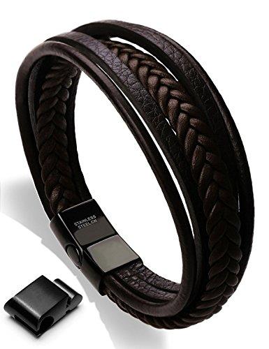 Moneekar Jewels Leather Bracelet Double Magnetic-Clasp Cowhide Braided Multi-layer Wrap Mens Bracelet...