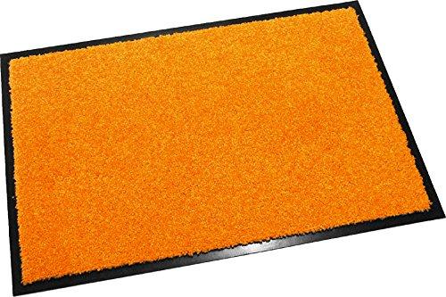 Hochwertige Fußmatte (Orange / 90x150 cm) waschbare Schmutzfangmatte - Höhe 8 mm - mit guter Wirkung gegen Nässe und Schmutz (bis zu 4L Wasser/m2)