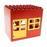 1 x Lego Duplo Gebäude Haus rot gelb 6x8x6 gross Zoo Bauernhof Stall Puppenhaus mit Fenster Tür und Scheunen Gatter 2294 2206 2205 2204