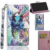 Ooboom Alcatel 3V Hülle 3D Flip PU Leder Schutzhülle Handy Tasche Case Cover Ständer mit Trageschlaufe Magnetverschluss für Alcatel 3V - Colorful Owl