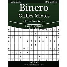 Binero Grilles Mixtes Gros Caractères - Facile à Difficile - Volume 5 - 276 Grilles