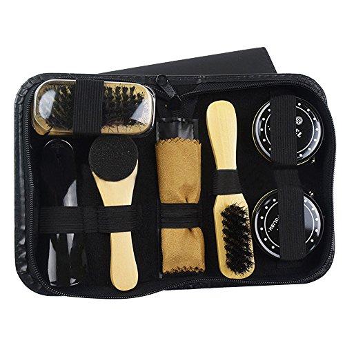 Gosear 8 Stück Leder Schuh Glanz Pflege Schuhe Polnisch Kit mit Lagerung Fall Schwarz Transparente Polnisch Bürste Werkzeug (Schuh-pflege-kits)