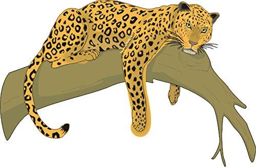 TShirt E579 Schönes TShirt mit farbigem Brustaufdruck Logo / Grafik Comic  Design Leopard schläft auf Baum in Afrika Weiß