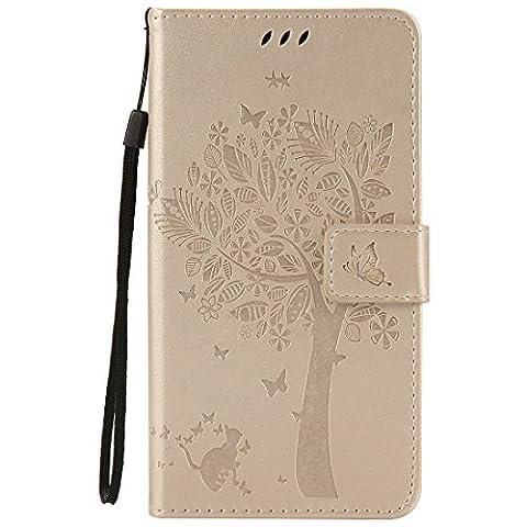 Chreey Coque Wiko Slide 2 ,PU Cuir Portefeuille Etui Housse Case Cover ,carte de crédit Fentes pour ,idéal pour protéger votre téléphone ,(arbre - chat)