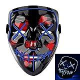 Charlemain LED Maske, Halloween Maske mit 3 Blitzmodi, harmlos, blinkende Maske für Halloween, Weihnachten, Karneval, Party, Kostüm Cosplay, Dekoration.