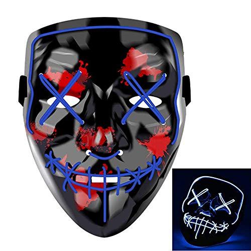 Charlemain LED Maske, Halloween Maske mit 3 Blitzmodi, harmlos, blinkende Maske für Halloween, Weihnachten, Karneval, Party, Kostüm Cosplay, Geschenk. (Blau) (Cosplay Kostüm Einfach)