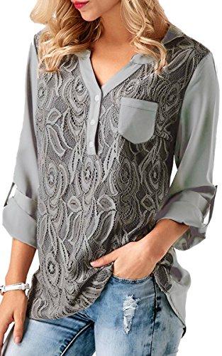 ECOWISH V Ausschnitt Damen Top Spitzen Oberteil Casual Tunika Langarm Shirt Bluse Grau S