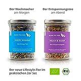 Premium Tee Geschenk-Set – 1x Relax Bio Tee Entspannung und Schlafen für die Nacht & 1x Happy Monday Bio Energy Tee für den Tag – 2er Set Tee Made in Germany, 210 gr