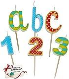 Unbekannt 6 tlg. Set _ Steck Kerzen für den Schulanfang - ABC + Zahlen - Kind Steckkerzen Geburtstagskerzen Kindergeburtstag Deko Schulanfangstisch Schuleinführung - Einschulung Tischdeko