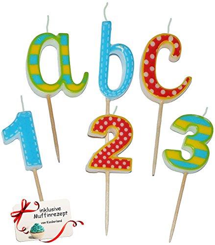6 tlg. Set _ Steck Kerzen für den Schulanfang - ABC + Zahlen - Kind Steckkerzen Geburtstagskerzen Kindergeburtstag Deko Schulanfangstisch Schuleinführung - Einschulung Tischdeko
