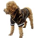FakeFace Wasserdicht Hundemantel Hundejacke Hunde Regenmantel Hundepullover mit Kapuze Warme Innenfutter Hunde Winter Herbst warme Hundebekleidung Hunde Kostüm Kleidung, Größe XL, Farbe Braun