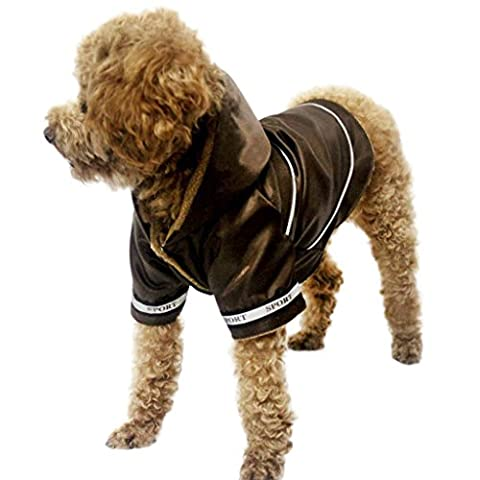 Dog Cat Warm Fleece Lined Coat Waterproof Hooded Jacket with Two Legs Soft Cozy Pet Clothes Rain Slicker Jumpsuit for Small Medium