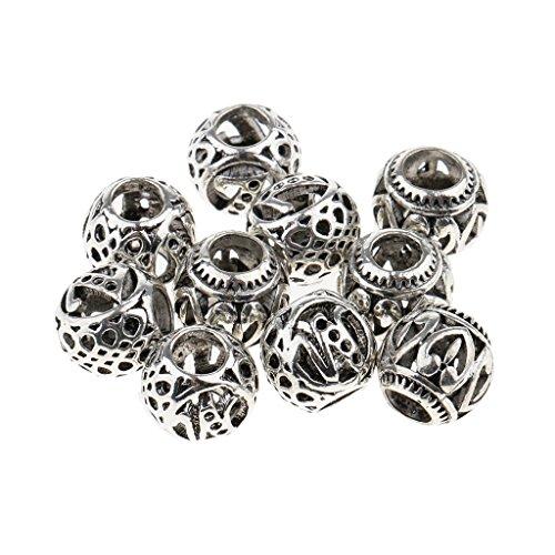 Homyl 10er-Set Antik Silber Dreadlocks Perlen Haar Bart Dekoration Zwischenperlen Flechten Zöpfe Haar Perlen Haarschmuck