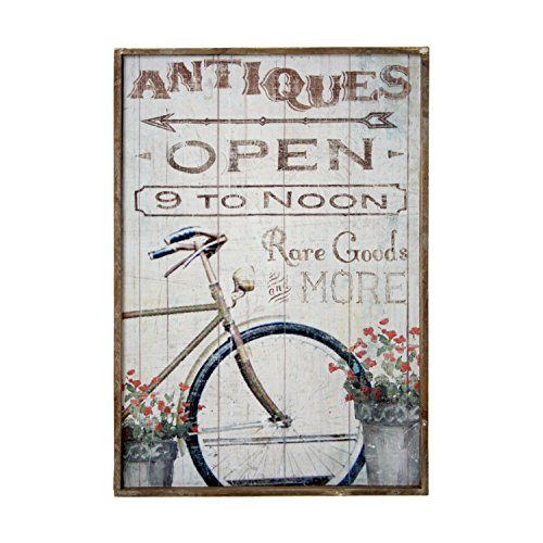 DonRegaloWeb DRW - Cuadro - Cuadro de Madera Estilo vintaje con una Bicicleta y Flores